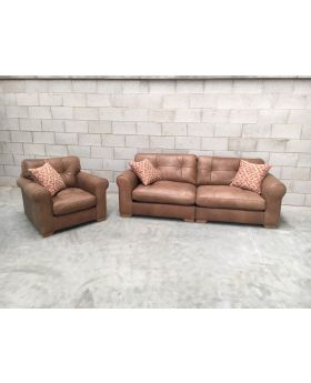 A&J Brown Leather Pemberley 3 Str Sofa & Chair