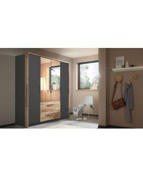 Rauch PAI 4 Door Combi Robe inc Passepartout - Metallic Grey
