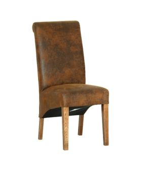 Devonshire Rustic Oak Bison Fabric Dining Chair