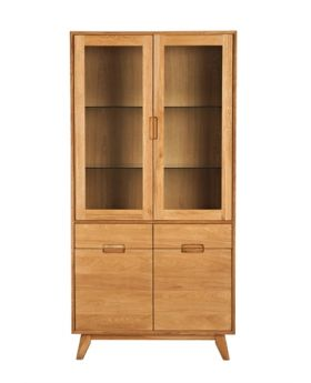 Unique Rho Dining Oak Finish China Display Unit