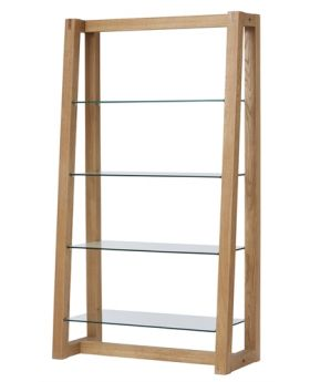 Unique Royal Oak Bookcase with Glass Shelves
