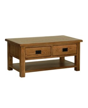 Devonshire Rustic Oak Coffee Table With Drawers