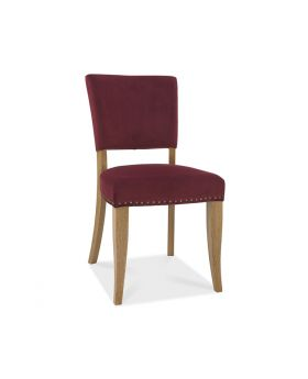 Bentley Designs Indus Pair of Rustic Oak Red Velvet Dining Chairs