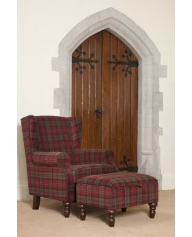 Shetland Wing Chair & Storage Stool - Claret