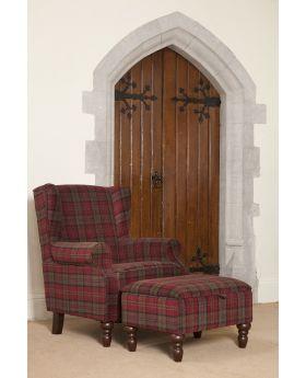 Shetland Wing Chair & Storage Stool - Claret