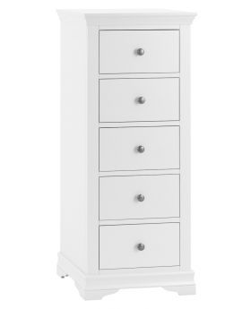 Kettle SW Bedroom White 5 Drawer Narrow Chest