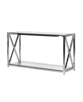 Terano Glass and Steel Console Table