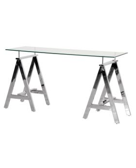 Terano Trestle Glass and Steel Console Table