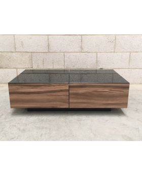 UK-CF Milano Coffee Table Walnut & Black Glass