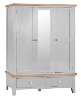 Kettle TT Bedroom Grey Large 3 Door Wardrobe