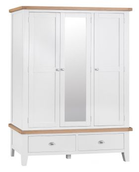 Kettle TT Bedroom White Large 3 Door Wardrobe