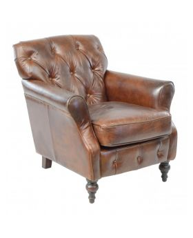 Ancient Mariner Vintage Leather Button Back Chair