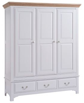 Classic Furniture Alders painted 3 door wardrobe with drawers